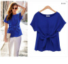 Women summer Short Sleeve Solid Color Chiffon Blouse T-shirt sexy Fashion Bow tie L28 meifeier 407 women s fashionable knitted chiffon blouse apricot l