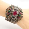 Винтаж турецких женщин Широкоугольный браслет Манжета регулируемый размер Античный золотой цвет смолы браслет ювелирные изделия по