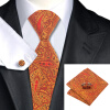 Н-0976 моде мужчины Шелковый галстук набор оранжевый Пейсли галстук платок Запонки набор галстуков для мужчин формального свадебного бизнеса оптовики именной набор для выращивания свадебного дерева
