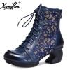 Xiangban Full Grain leather женские короткие сапоги странные каблуки зашнуровать ботинки Высокое качество осенней зимней обуви