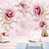Пользовательские обои Mural 3D Стерео Рельеф Розовая Роза Фото Стены Фрески Свадебный Дом Гостиная Спальня Фон Стена Домашний Декор пользовательские фото стены бумага 3d природный ландшафт большие фрески обои для гостиной фон домашний декор murales para pared 3d