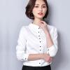 Fife 2018 женщин новой рубашки рубашки весны рубашки диких тонкий воротник рубашка воротник OL высокого класса с длинными рукавами рубашка LL037 белый M рубашки liguo рубашка