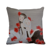 Beauty Red Flower Chinese Style Watercolor Polyester Toss Throw Pillow Square Cushion Gift
