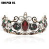 Vintage Ancient Princess Crown Women Tiaras Red Resin Цветочные украшения для волос Античные золотые кристаллы Вина Этническая мис vintage women red resin bridal crystal tiara crown head jewelry princess queen турецкие свадебные аксессуары для волос