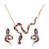 Yoursfs® 18K с розовым позолоченным красивым ожерельем и ювелирными изделиями из змейки с использованием австрийских хрустальных свадебных нарядов