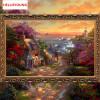 DIY 5D Бриллианты Вышивка Приморский коттедж Волшебный куб Круглый бриллиант Картина Наборы для вышивки крестом Алмазная мозаика Домашний декор