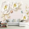 Пользовательские фото обои Murals 3D Embossed Rose Living Room TV Background Wall Painting Нетканые обои Murales De Pared 3D 63 rose de mai