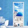 Средиземноморский пейзаж Mural обои Жилая комната Спальня двери стикер ПВХ самоклеящиеся водонепроницаемые обои фото 77cmx200cm плнка пвх на двери