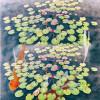 Бесплатная доставка фото Carp Wang лотоса лист пол картины 3d пользовательских спальни спальни гостиной водонепроницаемая роспись 250cmx200c