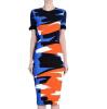 Lovaru ™2015 новых моде женщины миди платье летом о-образным вырезом с коротким рукавом печати колен вскользь платье развлечения и моды стиль