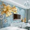 Пользовательские 3D-обои для фото Золотые украшения Цветы Синий Текстурированный Средиземноморский Роскошный европейский стиль ТВ Фон Стена Картина