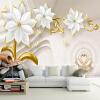 Обои для рабочего стола Роскошные золотые ювелирные изделия Цветочный 3D-рельеф Жилая комната ТВ-фоны Настенные росписи Home Decor Papel De Parede 3D