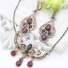 Винтаж турецких женщин смолы цветок ювелирных изделий устанавливает крюк падение серьги винограда ожерелье античный золотой цвет А