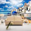 Пользовательские фото обои софы диван обои на рабочий стол обои для рабочего стола 3D Средиземноморье Греция стиль морской пейзаж обои