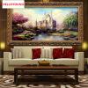 DIY Diamonds Embroidery Fairytale castle Пейзаж 5D Волшебный куб Круглый бриллиантовый рисунок Наборы для вышивки крестом Бриллиантовая мозаика