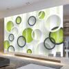 Пользовательские 3D-обои для рабочего стола Современные простые художественные обои для рабочего стола Зеленые обои для рабочего стола для гостиной Софа фон Соломенная стеновая бумага для гостиной