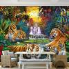 Пользовательские фото Обои на рабочий стол Оригинальные Лесные водопады Тигры Животное 3D Большие обои Mural для гостиной Спальня Papel De Parede