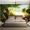 3D Нетканые обои Green Tree Photo Murals Классический пасторальный стиль Дерево Fiber Wallpaper Гостиная Спальня Интерьер 3D-декор интерьер и декор