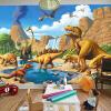 Custom 3D Cartoon Mural Wall Paper Детская комната Детский сад Обои для динозавров Дерево волокно Обои Papel De Parede Infantil 3D европейский стиль ретро дерево колесо 3d mural обои cafe bar ресторан индивидуальный декор wall paper papel de parede 3d paisagem