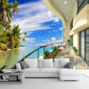 Пользовательская фотография Wall Paper 3D Beach Villa Expand Space Wall Painting Гостиная Диван ТВ Фон Обои Домашний декор Mural 3D