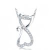 Yoursfs® 925 Silver Simulated Diamond Cat Подвеска Свадебное ожерелье Модные серебряные украшения
