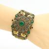 Турецкая женская цветочная смола Bangle Cuff Arabesque Antique Gold Plat Vintage Jewelry Индия браслет Цыганский национальный фест