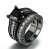 Black Gun Plated Black Square Каменное кольцо устанавливает роскошный дизайн Модные кольца для пальцев для женщин Полный размер Вся продажа R627 смеси для напитков алтайфлора каменное масло здоровые суставы 24 гр