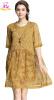 M - 5XL плюс размер шифон элегантный лето 2018 зеленый желтый принт платье женщины большой размер половина рукав свободный офис