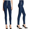 Autumn Women Fashion Jeans High Waist Button Denim Jeans Full Length Pencil Pants Feminino Trousers