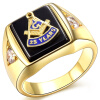Hot Selling Natural Onyx 18k Gold Plated Masonic Memorial religious Party ring Size 7 8 9 10 11 12 13 14 15