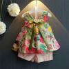 Одежда для девочек Летний стиль 2018 Новый случайный комплект одежды для детей Цветочный без рукавов Топы Шорты Костюмы для детей