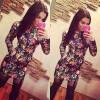 Lovaru ™Новый элегантный +2015 Летняя мода Платье-де-Феста Секс Цветочный печати Женская одежда с длинным рукавом платье сексуальный