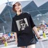 Новая корейская версия, женская одежда, шею, свободная футболка, женская хлопчатобумажная футболка с коротким рукавом.