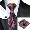Н-0571 моде мужчины Шелковый галстук набор фиолетовый Пейсли галстук платок Запонки набор галстуков для мужчин формальных Свадебный бизнес оптом н 0653 моде мужчины шелковый галстук набор фиолетовый в полоску галстук платок запонки набор галстуков для мужчин формальных свадебный бизнес оптом