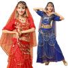 2018 Женская болливудская танцевальная одежда Комплект из 4 предметов Комплект костюма Головной убор, верх, монеты и юбки Индийски женские юбки в розницу