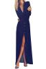 Lovaru ™летом стиль 2015 новых женщин платья с длинными рукавами V-образным вырезом чистый цвет воспитать нравственность подходят длинные и лодыжки платье свободное платье с v образным вырезом marni платья и сарафаны мини короткие
