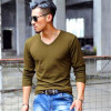 Мужская одежда Мода V-образным вырезом Футболки Молодежные повседневные с длинными рукавами Топы Мужские удобные хлопчатобумажные рубашки топы и футболки