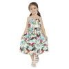 Летнее платье для девочек 2018 Новое платье для печати Цветы Платья Детская одежда Колено Длина Платья для девочек Весенняя хлопчатобумажная ткань платья для девочек