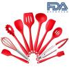 Силиконовая жаростойкая кухонная кухонная утварь 10 шт. Набор для приготовления пищи Неприклеенные кухонные инструменты (красный) посуда кухонная