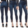 S - XXL 2018 Skinny Slim High Waist Pencil Pants Women Stretch Sexy Denim Jeans Bodycon Leg Split Trousers luxury good quality new fashion women zipper jumpsuit slim fit skinny jeans rompers pocket denim jumpsuits size sexy girl casual