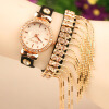 SHENSEE® 20151PC кисточкой женщин rhinestone кожаный слинг золотую цепочку Кварцевые наручные часы