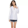 Мода с длинными рукавами женщин Блузка белая рубашка Леди Жемчужина кнопки рубашка Женщины повседневная элегантная блузка