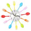 Многоцветные вилки Ложка кухонные столовые приборы настенные часы Домашнее украшение