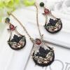 Урожай турецких женщин цветок мотаться серьги Любовь ожерелье ювелирные изделия наборы полые черные краски античные золотые смолы