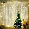 JULELYS 4M x 4M 512 Лампы Светодиодные занавески для шнурка Светильники для рождественских сказок На открытом воздухе для свадьбы Праздничная вечеринка Home Garden usb 5m 50leds silver wire strip lights fairy christmas holiday wedding party 1pc