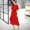 Lovaru ™Новый +2015 моды корейской версии шею короткий рукав летучая мышь упругой талии платья сплошной цвет белый свитер летучая мышь