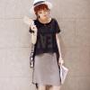 Lovaru ™Новый 2 015 мода женской одежды хан издание печатных букв юбка с погонами платье шифон из двух частей наряд