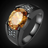 3.5CT Fashion jewelry Men's 18K Black Gold Plated Wedding Matching Ruby,amethyst,Topaz Zircon stone Ring Size 7-15 r786 b fashion jewelry rose gold plated ring