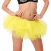 ярко - желтые туту юбки взрослых девочек многослойные мини - юбку выше колен, довольно тюля свадьбу танцевать балет короткое платье
