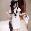 Lovaru ™Летом новой женской одежды хан издание рукав полосой платье цвета V сращивания Feifei